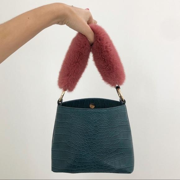 4f37a3250b Le Junev Handbags - Python Texture Mini Bag with Pink Faux Fur Handle